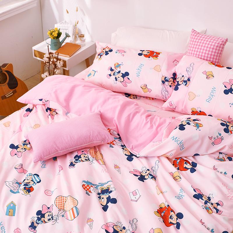 床包/雙人【米奇-海灘樂】雙人床包含二件枕套