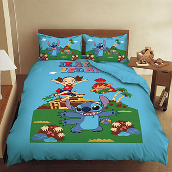 床包/雙人加大【史迪奇歡樂篇】混紡精梳棉雙人加大床包含兩件枕套