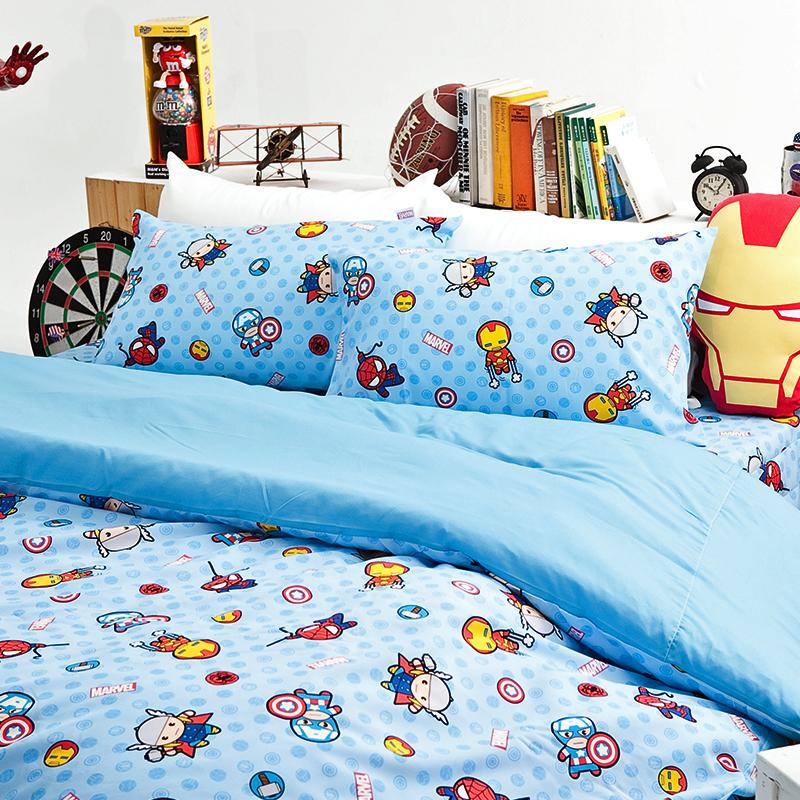 床包/雙人加大【復仇者聯盟-超萌英雄】高密度磨毛布雙人加大床包含兩件枕套