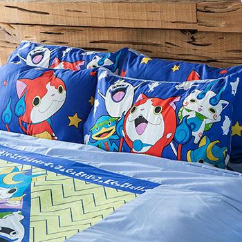 床包/雙人加大【妖怪手錶-武士慶典】混紡精梳棉雙人加大床包含兩件枕套