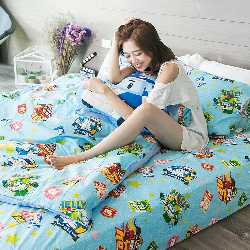 床包/雙人加大【波力救援小英雄藍】高密度磨毛布雙人加大床包含兩件枕套