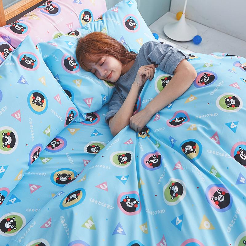 床包/雙人加大【熊本熊樂園藍】高密度磨毛布雙人加大床包含兩件枕套