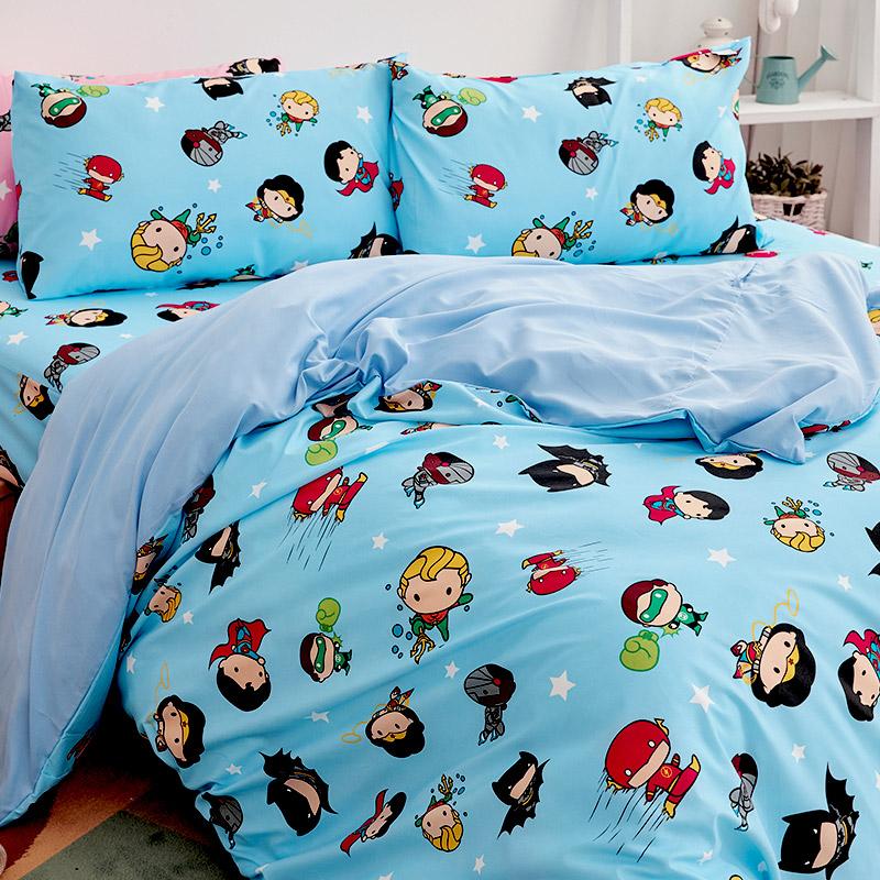 床包/雙人加大【DC正義聯盟Q版超級英雄-藍】雙人加大床包含二件枕套