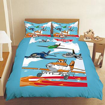 床包/雙人【飛機總動員飛翔篇】混紡精梳棉雙人特大床包內含兩件枕套