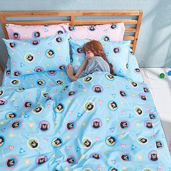 被套/單人【熊本熊樂園藍】高密度磨毛布單人被套