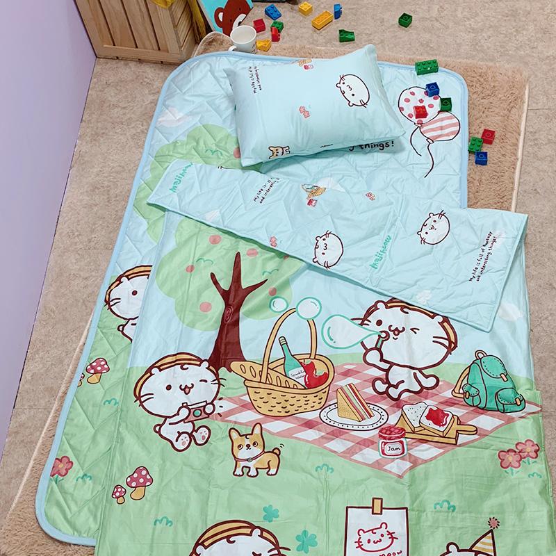 兒童睡墊組/【野餐派對藍-三合一睡墊組】