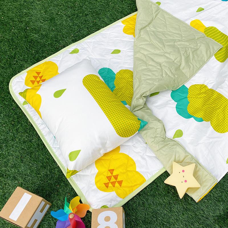 兒童睡墊組/【遇見朵朵綠-三合一睡墊組】