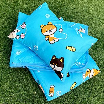 兒童睡墊組/【逗柴貓藍-三合一睡墊組】