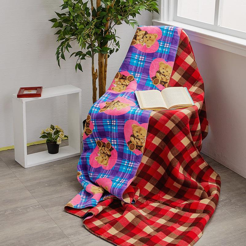 毯子/雙面毯【米紅格紋雙面毯】100%台灣製高品質雙面毯