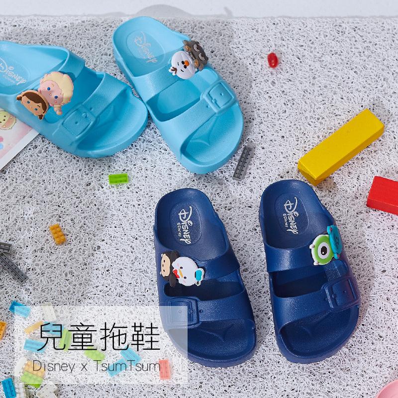 拖鞋/18【迪士尼TSUMTSUM海灘拖-水藍】正版授權
