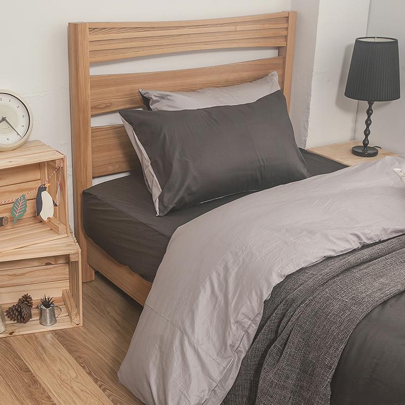 床包被套組/單人【簡單生活系列-雙灰】100%精梳棉單人床包被套組