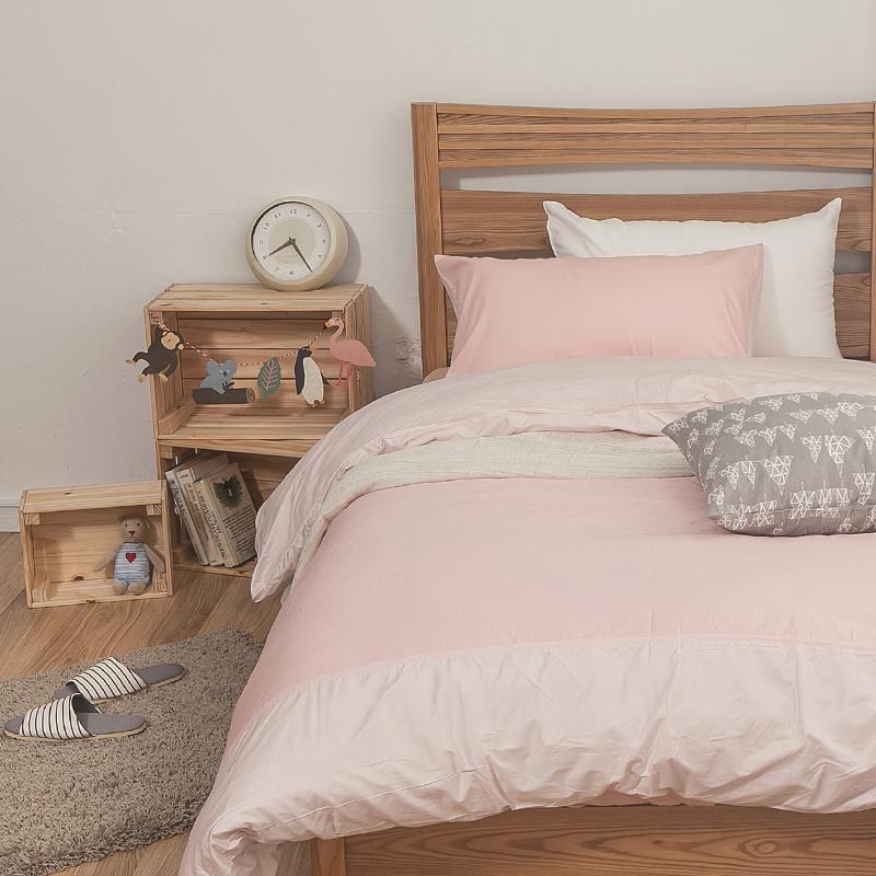 床包被套組/單人【簡單生活系列-雙粉】100%精梳棉單人床包被套組