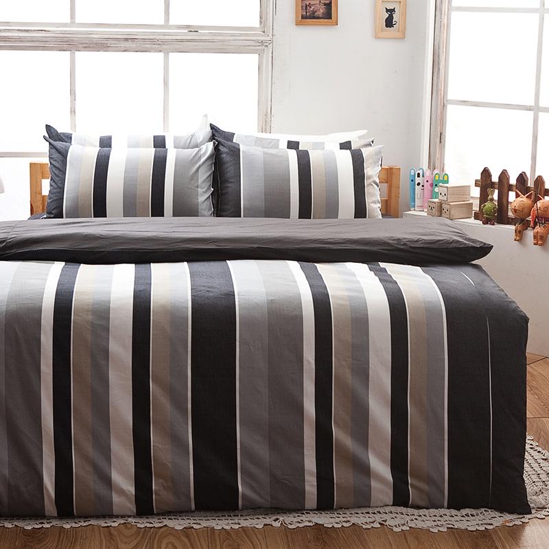 床包被套組/單人【簡潔休閒灰】100%精梳棉單人床包被套組