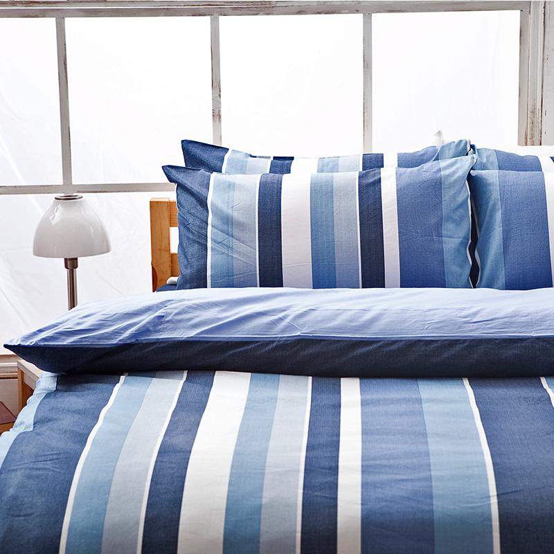 床包被套組/單人【簡潔休閒藍】100%精梳棉單人床包被套組