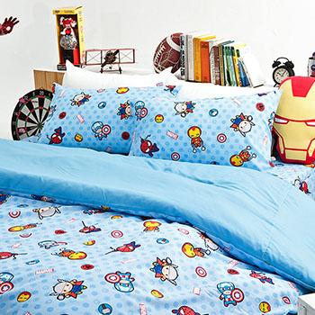 床包被套組/單人【復仇者聯盟-超萌英雄】高密度磨毛布單人床包被套組