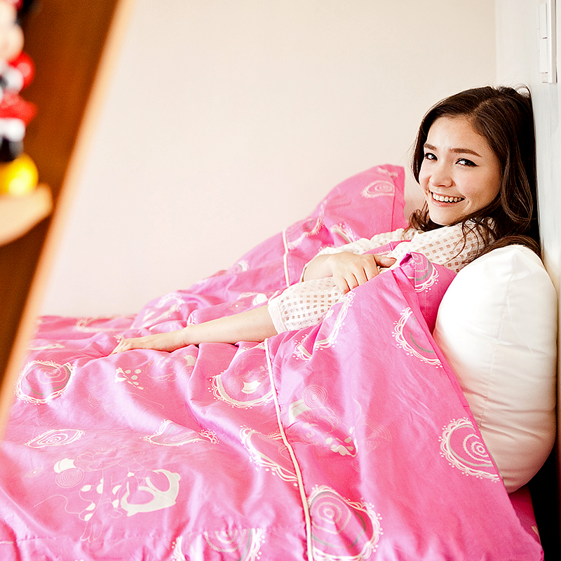 床包被套組/單人【Mini米妮-桃】單人床包被套100%精梳棉正版授權台灣精製