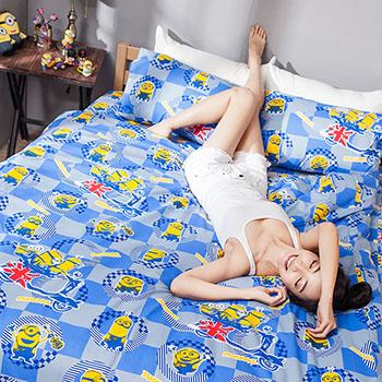 床包被套組/單人【小小兵壞蛋來了】高密度磨毛布單人床包被套組