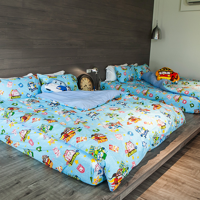 床包被套組/單人【波力救援小英雄藍】高密度磨毛布單人床包被套組