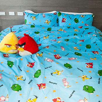 床包被套組/單人【憤怒鳥藍】高密度磨毛布單人床包被套組