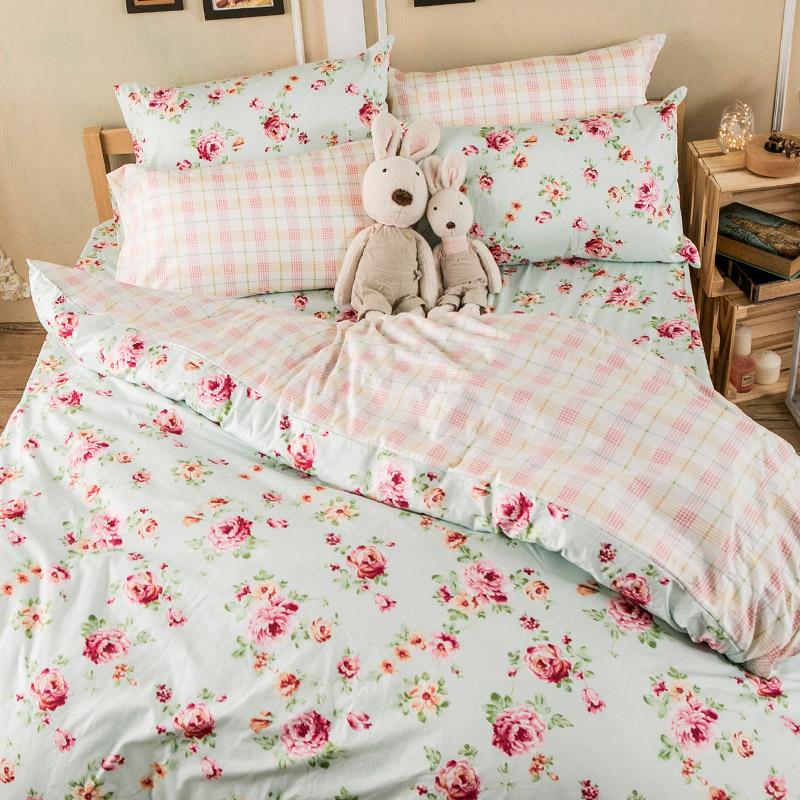 床包被套組/單人【玫瑰粉格】100%精梳棉單人床包被套組