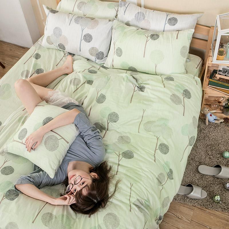 床包被套組/單人【晨曦之柏】100%精梳棉單人床包被套組