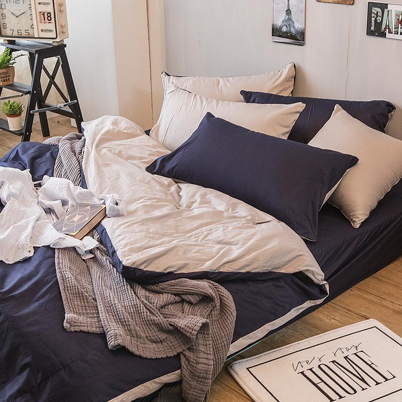 床包被套組/單人【撞色系列-紳士藍】100%精梳棉單人床包被套組