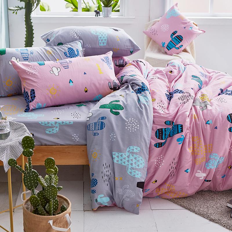 床包被套組/單人【OH!仙人掌-粉】100%精梳棉單人床包被套組