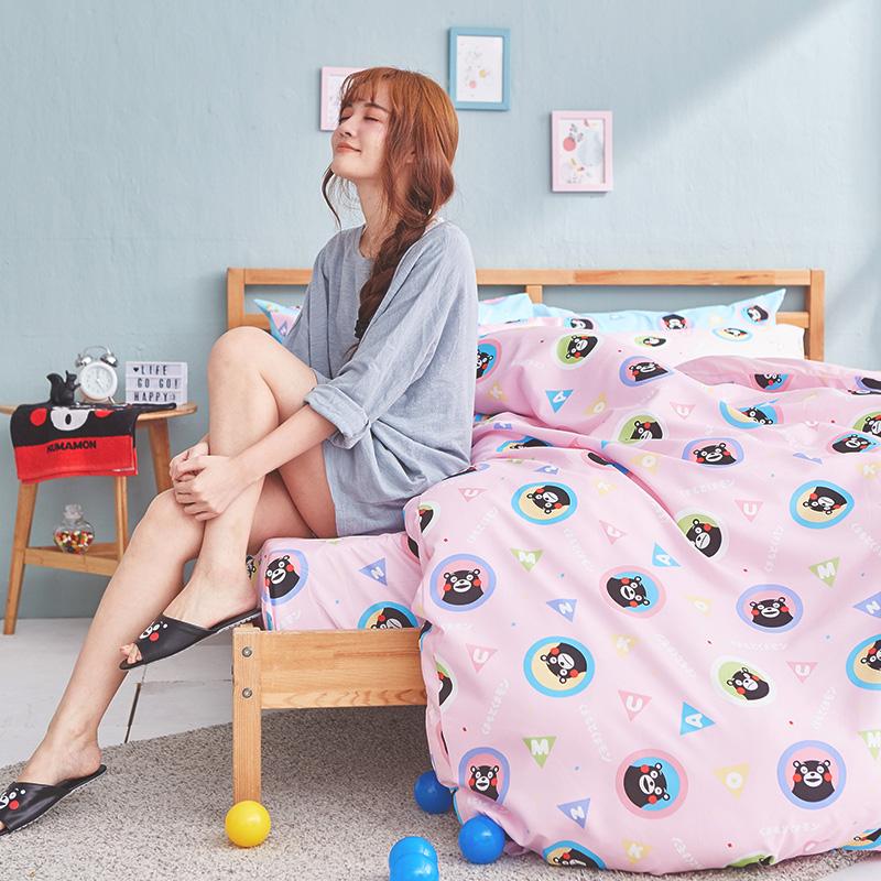 床包被套組/單人【熊本熊樂園粉】高密度磨毛布單人床包被套組