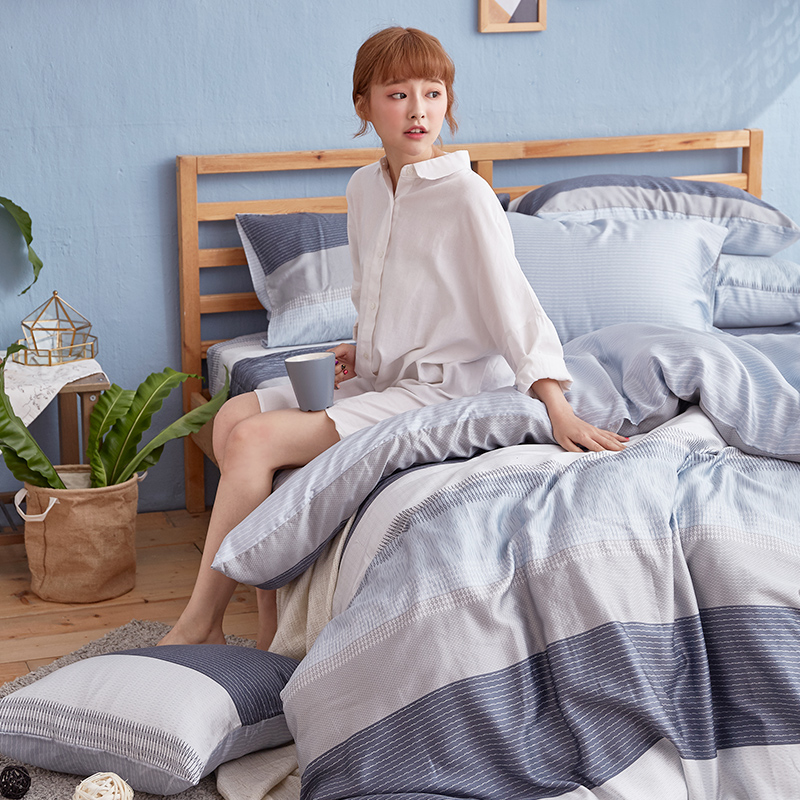 床包被套組/單人【靛藍旋律】40支天絲單人床包被套組