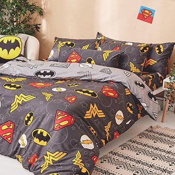 床包被套組/單人【DC正義聯盟】100%精梳棉單人床包被套組含一件枕套
