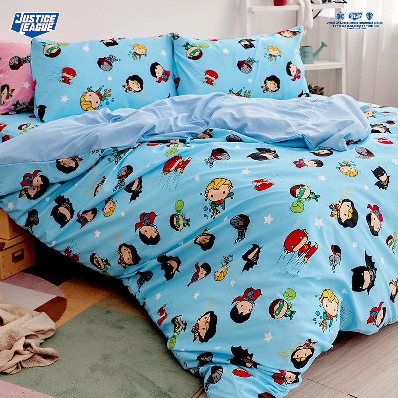 床包被套組/單人【DC正義聯盟Q版超級英雄-藍】單人床包被套組
