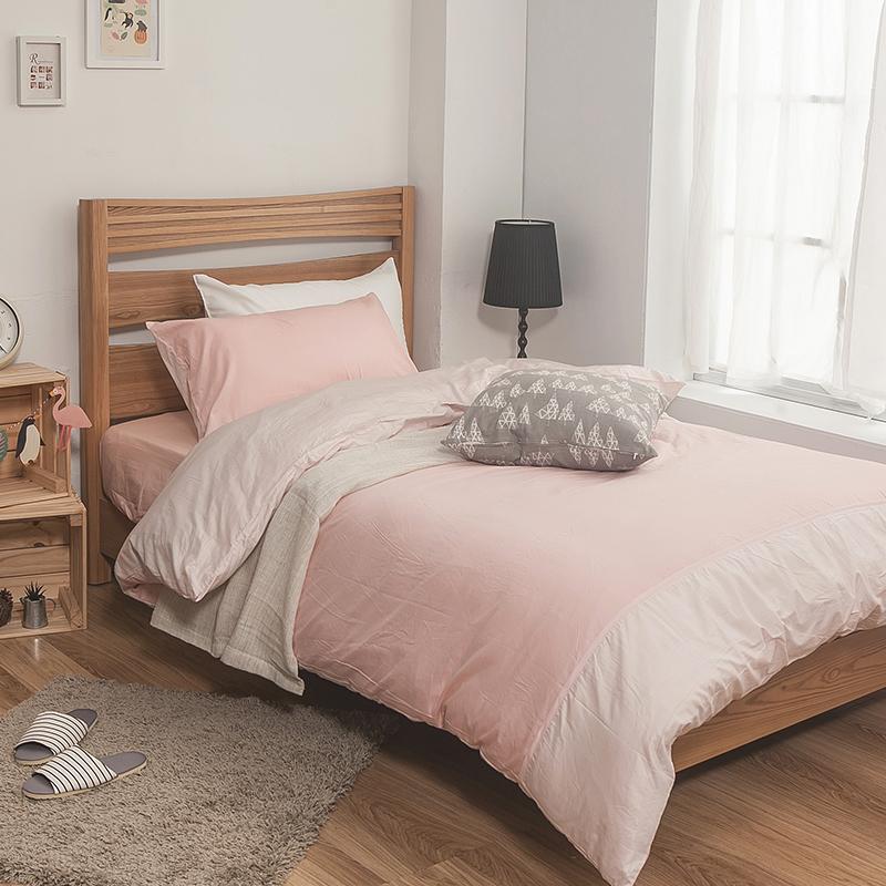 床包被套組/雙人【簡單生活系列-雙粉】100%精梳棉雙人床包被套組