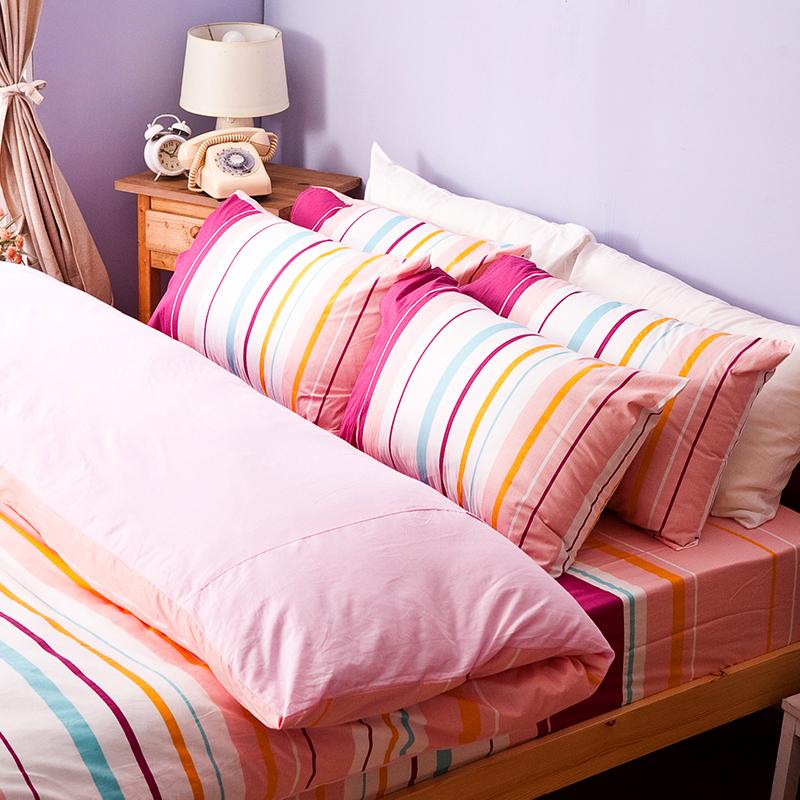 床包被套組/雙人【繽紛特調粉】100%純棉雙人床包被套組