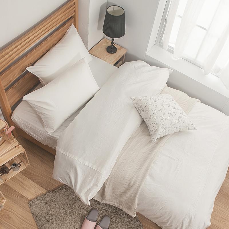 床包被套組/雙人【簡單生活系列-白】100%精梳棉雙人床包被套組