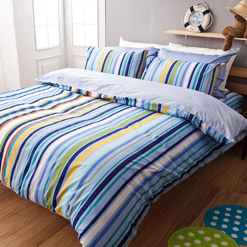 床包被套組/雙人【海洋特調】100%純棉雙人床包被套組