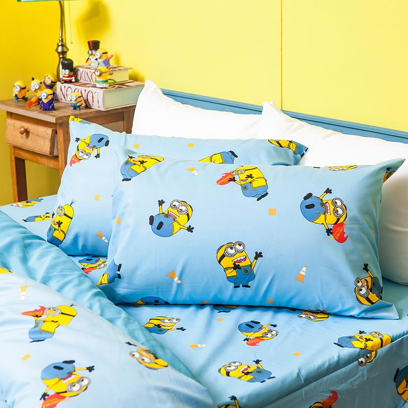 床包被套組/雙人【小小兵全速前進】高密度磨毛布雙人床包被套組