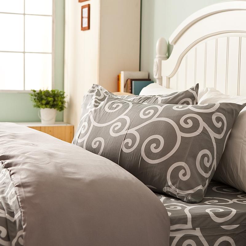 床包被套組/雙人【里昂莊園灰】水蜜桃絲雙人床包被套組