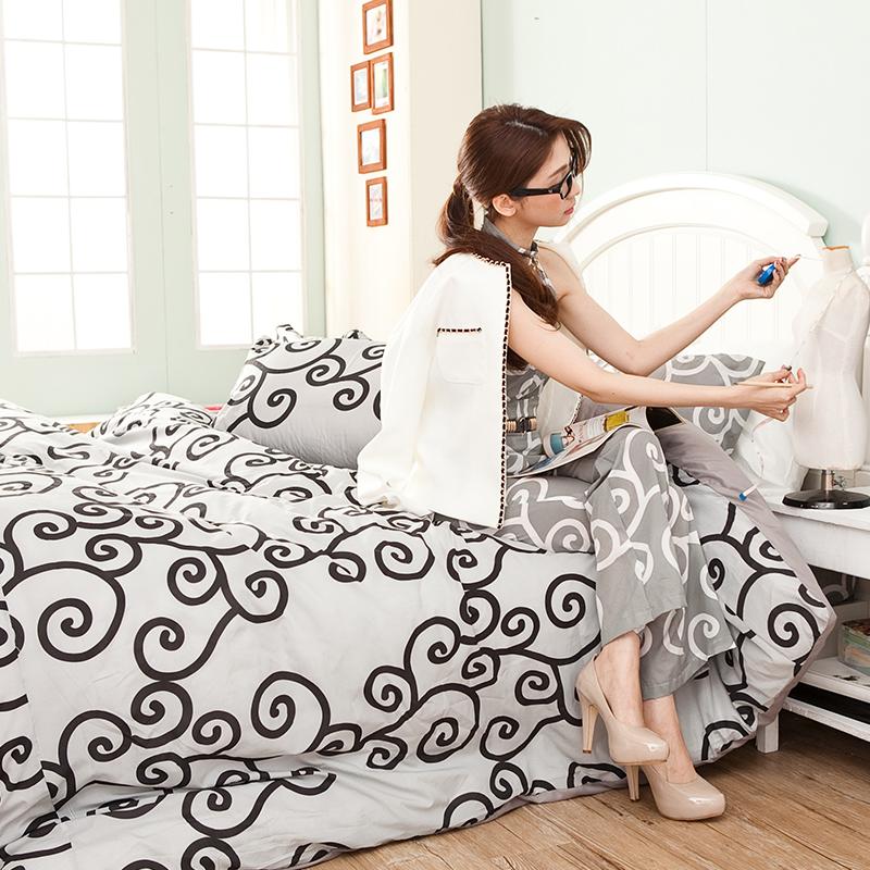 床包被套組/雙人【里昂莊園黑】水蜜桃絲雙人床包被套組