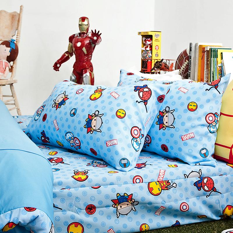 床包被套組/雙人【復仇者聯盟-超萌英雄】高密度磨毛布雙人床包被套組
