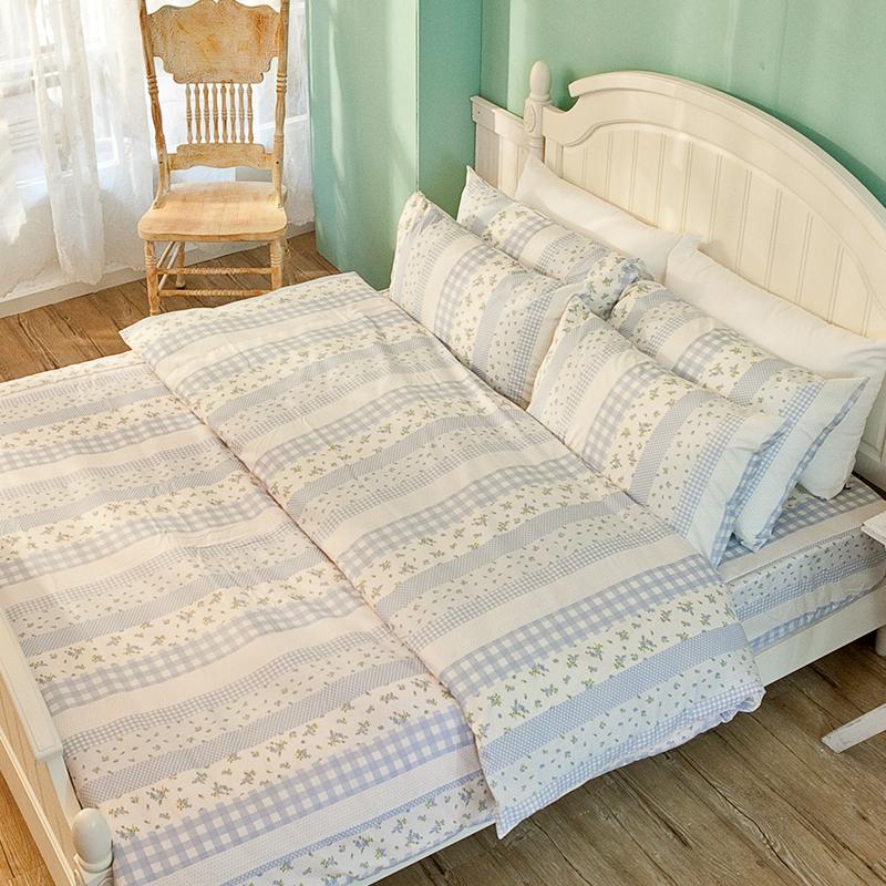 床包被套組/雙人【漫步花園藍】雪紡絲磨毛雙人床包被套組