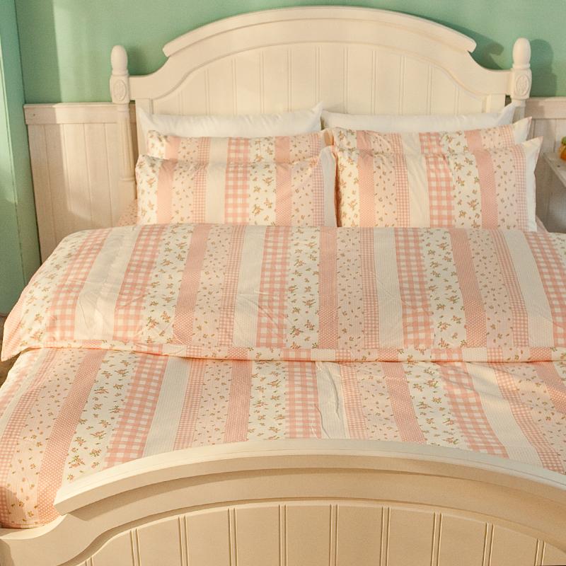 床包被套組/雙人【漫步花園粉】雪紡絲磨毛雙人床包被套組