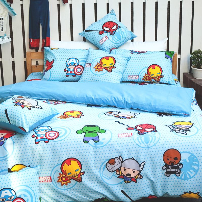 床包被套組/雙人【復仇者聯盟-英雄總動員】高密度磨毛布雙人床包被套組