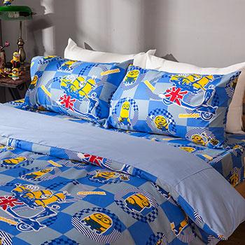 床包被套組/雙人【小小兵壞蛋來了】高密度磨毛布雙人床包被套組