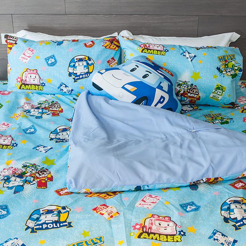 床包被套組/雙人【波力救援小英雄藍】高密度磨毛布雙人床包被套組