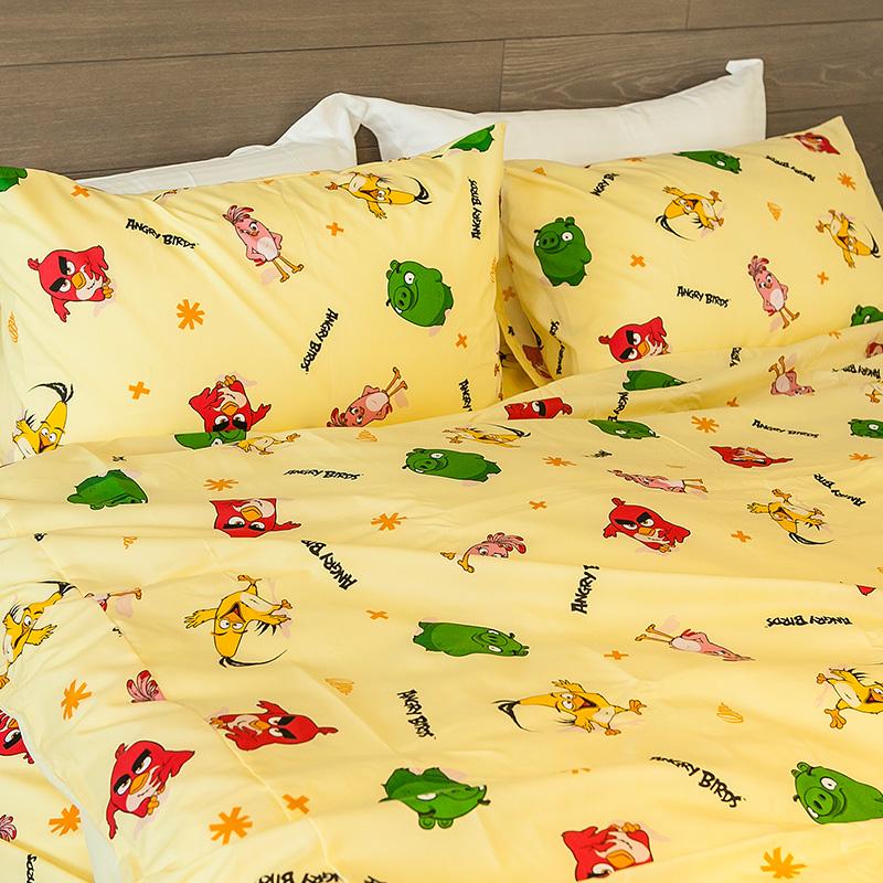 床包被套組/雙人【憤怒鳥黃】高密度磨毛布雙人床包被套組
