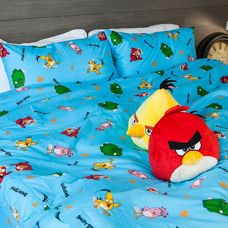 床包被套組/雙人【憤怒鳥藍】高密度磨毛布雙人床包被套組