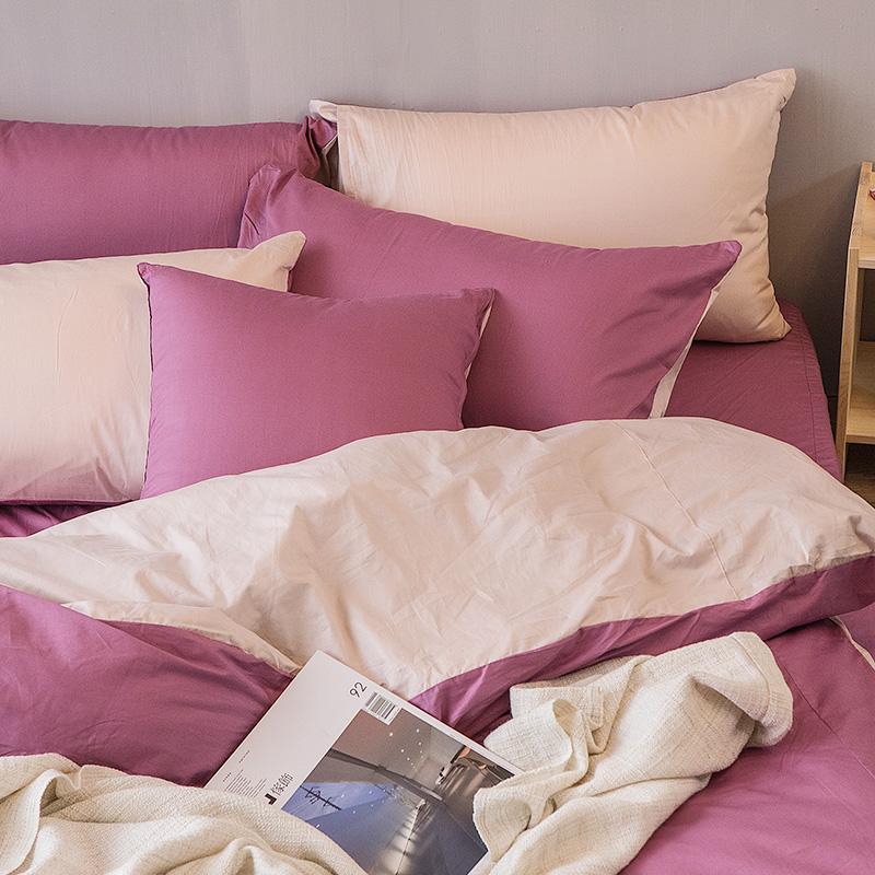 床包被套組/雙人【撞色系列-波波紫】100%精梳棉雙人床包被套組