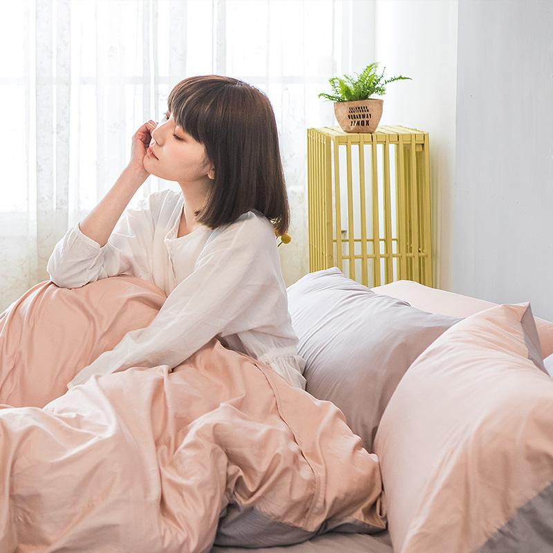 床包被套組/雙人【撞色系列-可可粉】100%精梳棉雙人床包被套組