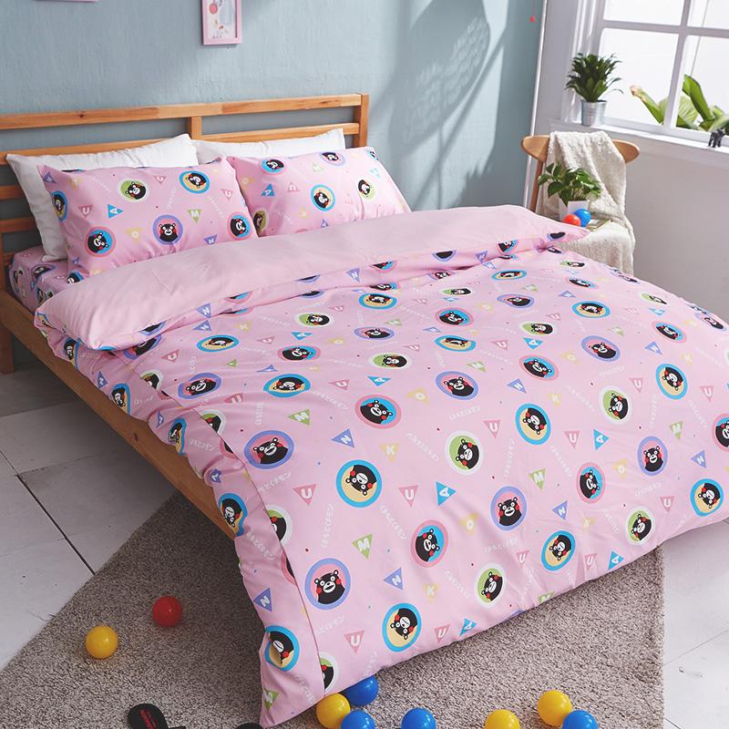 床包被套組/雙人【熊本熊樂園粉】高密度磨毛布雙人床包被套組