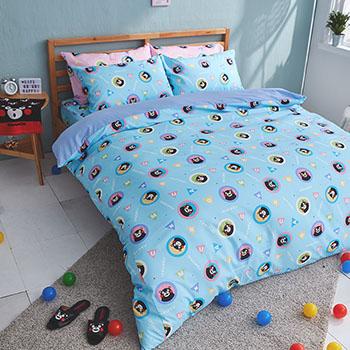 床包被套組/雙人【熊本熊樂園藍】高密度磨毛布雙人床包被套組